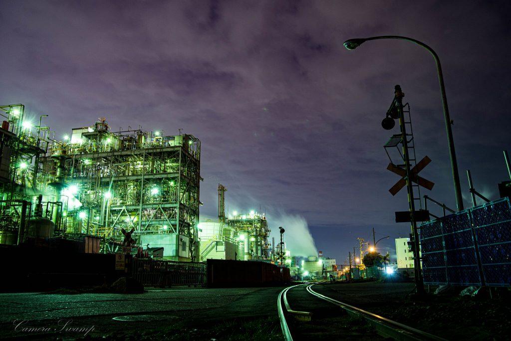 千鳥町 貨物ヤード前 工場夜景